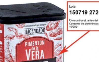 ATENCIÓN! Lote de pimentón de la Vera Hacendado retirado por un positivo en Salmonella